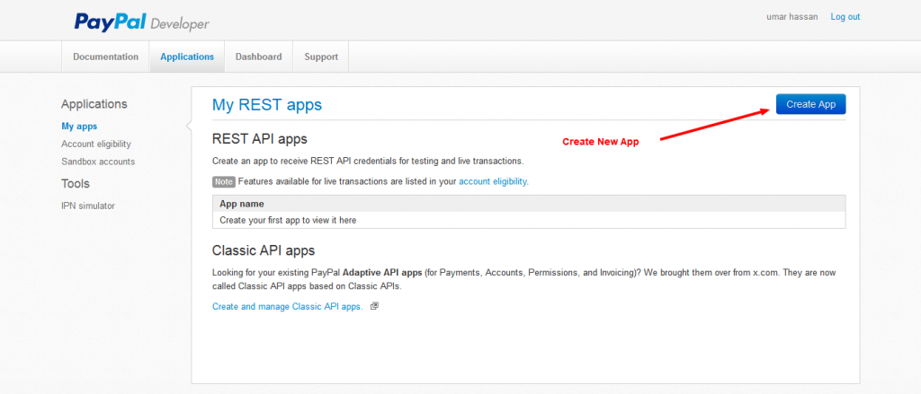 Create New App Paypal Developers