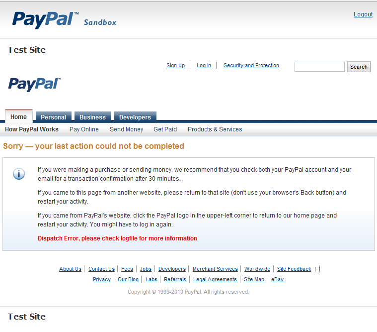 PayPal Sandbox Error Message
