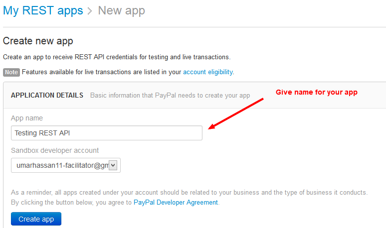 Fill App Details PayPal Developers Create App Page