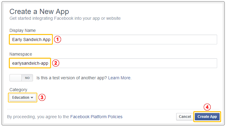 Entering Facebook App Information
