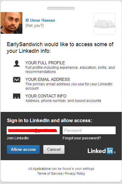 LinkedIn authorization page