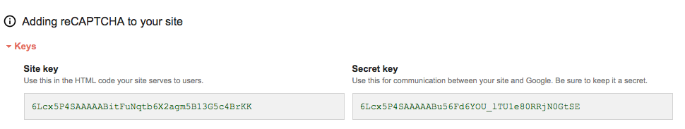 Google site and secret key
